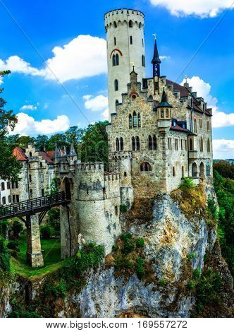 Beautiful castles of Europe - impressive Lichtenstein castle over rock