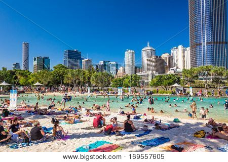 BRISBANE, AUS - DEC 29 2016: Streets Beach in South Bank Parkland. It's inner-city man-made beach next to city center.