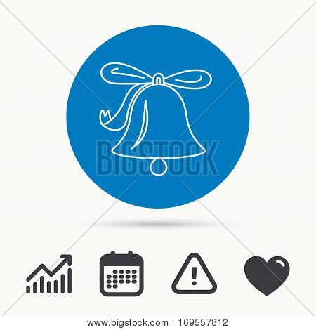 Ringing jingle bell icon. Sound sign. Alarm handbell symbol. Calendar, attention sign and growth chart. Button with web icon. Vector
