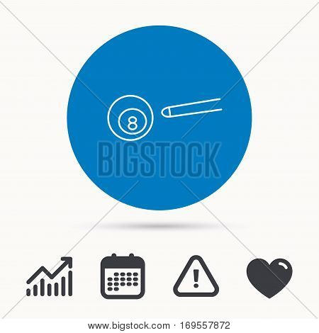 Billiard ball icon. Pool or snooker equipment sign. Cue sports symbol. Calendar, attention sign and growth chart. Button with web icon. Vector