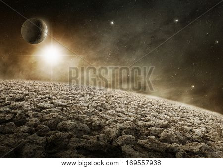 3d illustration of desert planet in the outer space