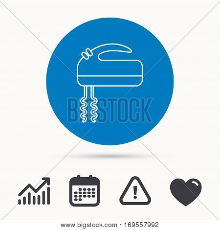 Blender icon. Mixer sign. Calendar, attention sign and growth chart. Button with web icon. Vector