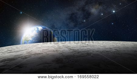 3d illustration of planet earth view from the moon surface