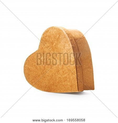Heart shaped closed gift box as holiday present single object isolated on white background with clipping path