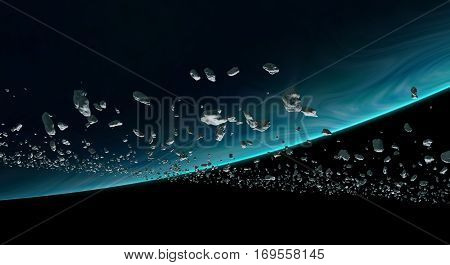 asteroids orbiting a blue planet 3d illustration