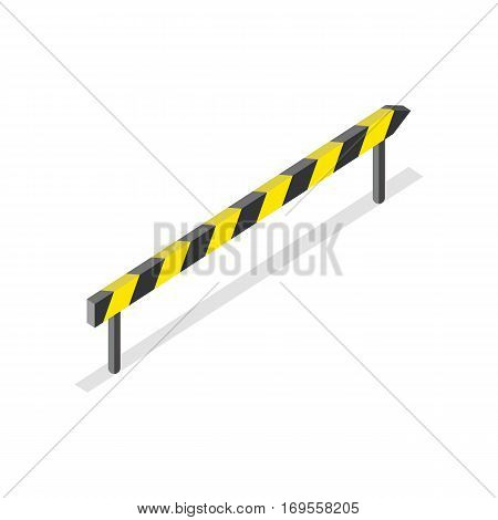 Isometric road construction, roadblock sign. Yellow and black warning sign with shadow. Yellow and black striped traffic road sign. City isometric object in flat. Drive safety.