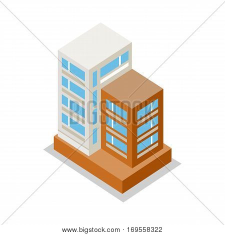 Isometric modern apartment building. Architecture apartment icon, building residential, business multistory building, office building. Isolated object on white background. Vector illustration.