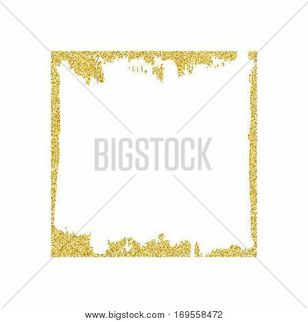 Frame with gold glitter texture. Vector golden square border.