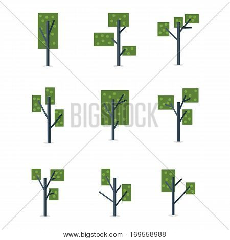 Vector illustration of tree various set collection stock