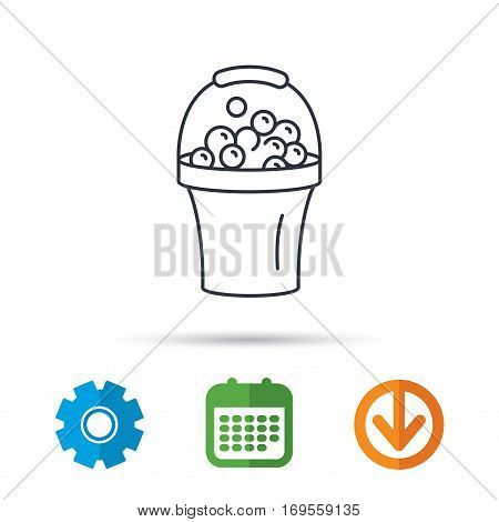 Bucket with foam icon. Soapy cleaning sign. Calendar, cogwheel and download arrow signs. Colored flat web icons. Vector