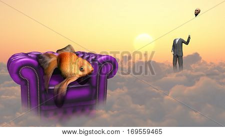 Golden fish in armchair on a clouds. Man in a suit holds his head as a balloon.  3D Render