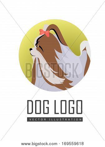 Dog logo vector illustration of Pekingese isolated on white background. Lion Dog, Peking Lion, Pelchie Dog or Peke. Chinese toy dog with bow. Shih Tzu. Home pet. Popular small breed. Vector