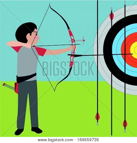 Archery athletic sport vector cartoon illustration set