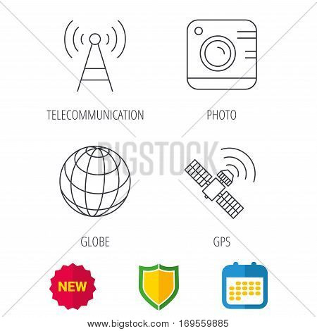 Photo camera, globe and gps satellite icons. Telecommunication station linear sign. Shield protection, calendar and new tag web icons. Vector