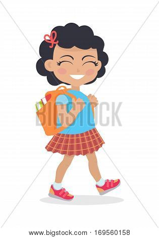 Girl going in for school with rucksack isolated on white. Little girl goes to study office. School girl during break searching for classroom. Young lady at playground at break. Daily activity. Vector