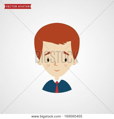 Face of young man. Vector avatar for businessman or student. Сute icon isolated on white background.