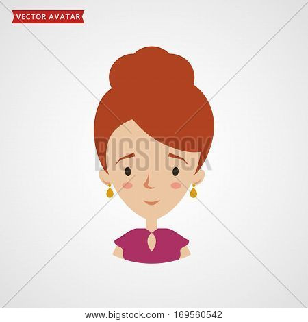 Face of a young attractive woman. Vector avatar. Сute flat icon isolated on white background.