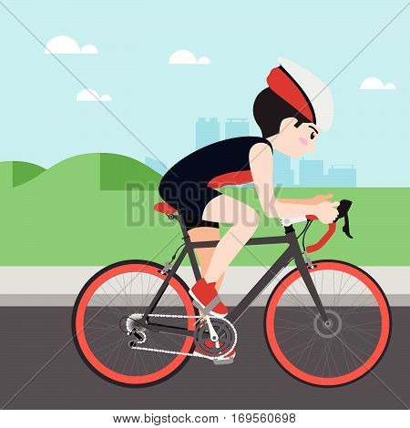 Cycling athletic sport vector cartoon illustration set