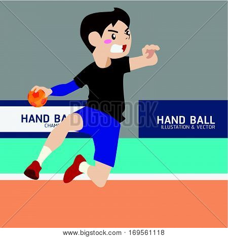 Handball athletic sport vector cartoon illustration set