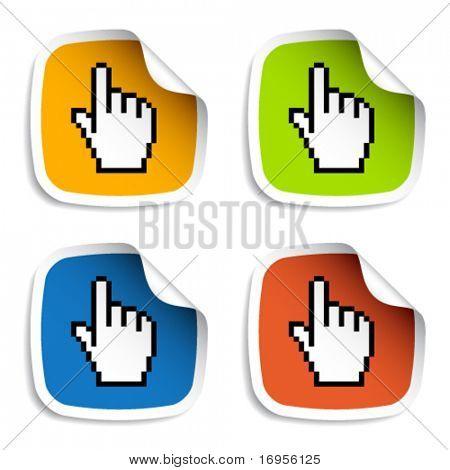 vector pixel cursor hand stickers