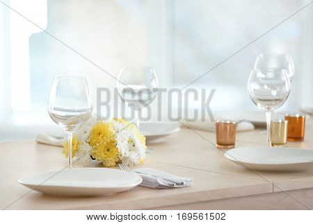 Table setting for holiday buffet, close up view