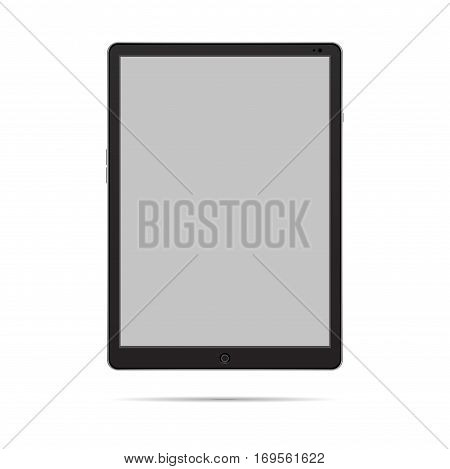 Black Tablet with gray screen one isolated objekt