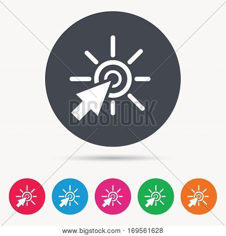 Click icon. Computer mouse cursor symbol. Colored circle buttons with flat web icon. Vector