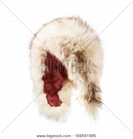 Fur hat isolated on white background winter fluffy cap