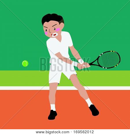 tennis athletic sport vector cartoon illustration set