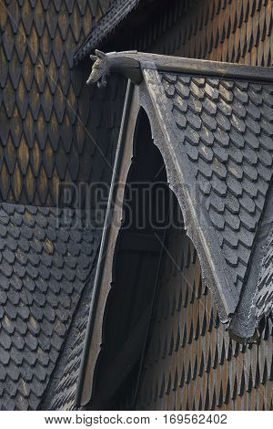 Norwegian stave church detail. Heddal. Historic building. Norway tourism. Horizontal