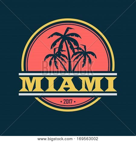 Colorful Miami label with text and palm silhouettes