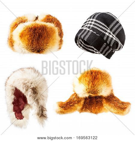 Fur and wool hats collection isolated on white background winter warm fluffy and trendy caps