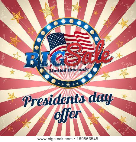 President's day offer Big Sale limited time only. Promotional banner. Vector template.