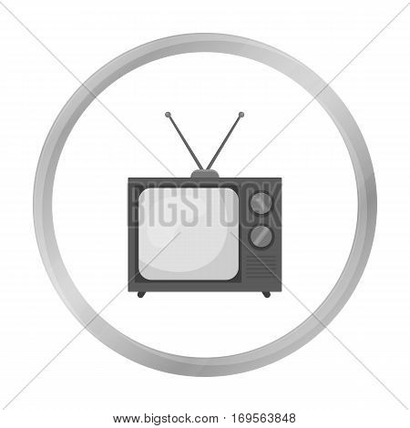 Television advertising icon in monochrome style isolated on white background. Advertising symbol vector illustration.