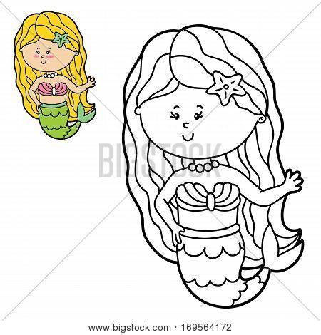 Vector illustration coloring page of happy cartoon mermaid for children, coloring and scrap book