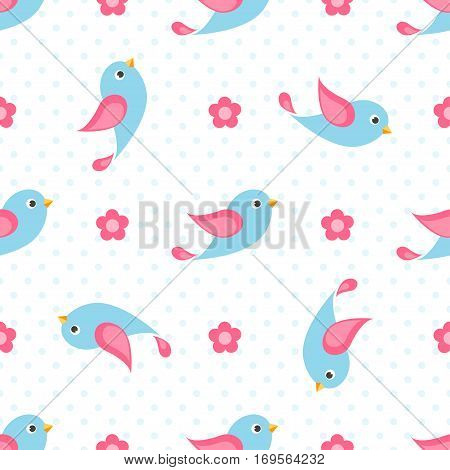 seamless pattern with blue birds and flowers