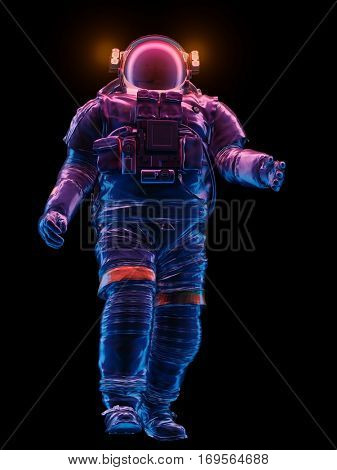 Graphic representation of an astronaut on a black background.,3d render