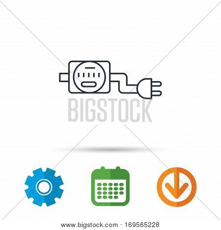 Electric counter icon. Electricity with plug sign. Calendar, cogwheel and download arrow signs. Colored flat web icons. Vector