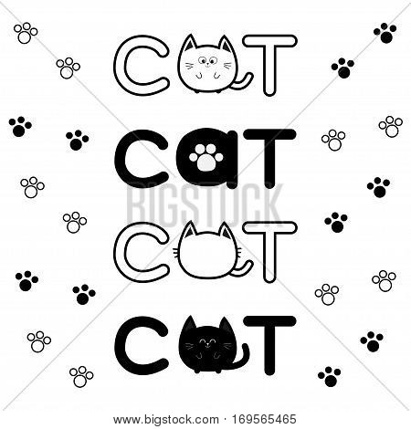 Round shape black cat text icon. Lettering Paw print set Cute cartoon character. Kawaii animal. Big tail whisker eyes. Kitty kitten Baby pet collection. White background Isolated Flat Vector