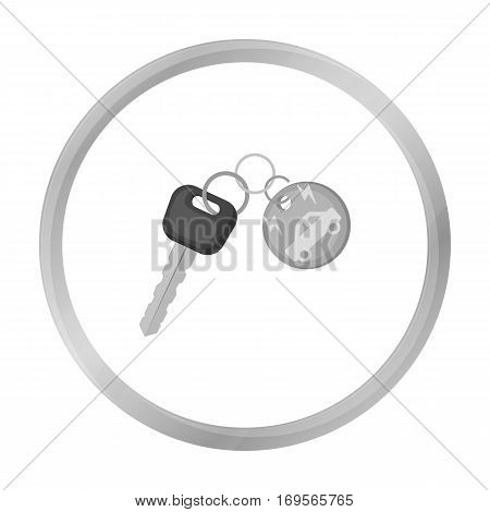 Key from eco car icon in outline design isolated on white background. Bio and ecology symbol stock vector illustration.