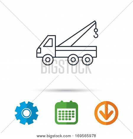 Evacuator icon. Evacuate parking transport sign. Calendar, cogwheel and download arrow signs. Colored flat web icons. Vector