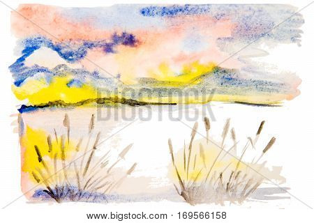 watercolor landscape sunset on the lake near mountians isolated