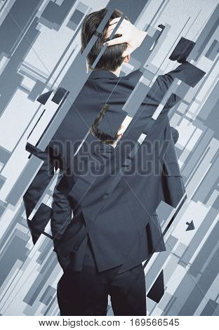 Back view of worried man on abstract background. Stress concept
