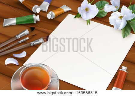 Vector spring background with blank sheet of paper, white flowers, paintbrushes, paint tubes, teacup on wooden background