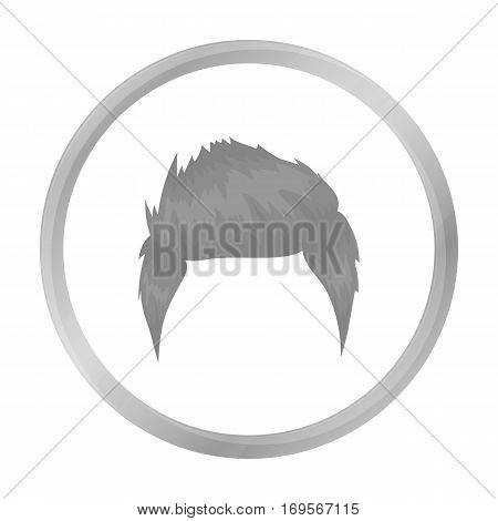 Man's hairstyle icon in monochrome style isolated on white background. Beard symbol vector illustration.