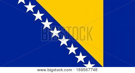 Colored Flag Of Bosnia And Herzegovina