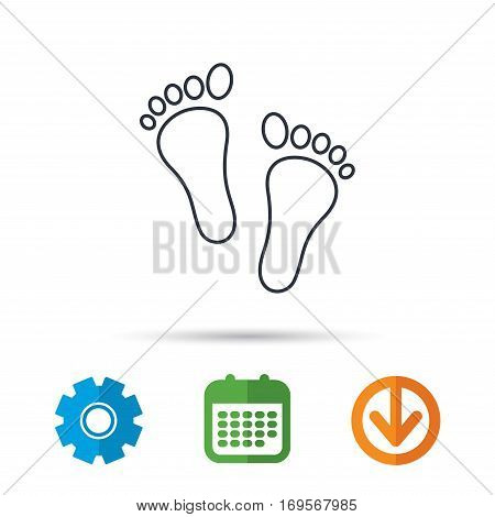 Baby footprints icon. Child feet sign. Newborn steps symbol. Calendar, cogwheel and download arrow signs. Colored flat web icons. Vector