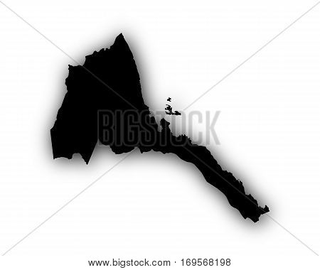 Map Of Eritrea With Shadow