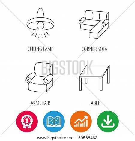 Corner sofa, table and armchair icons. Ceiling lamp linear signs. Award medal, growth chart and opened book web icons. Download arrow. Vector