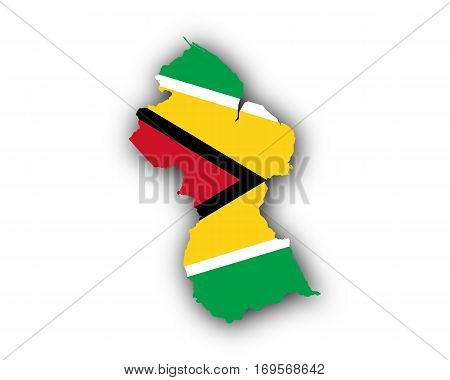 Map And Flag Of Guyana